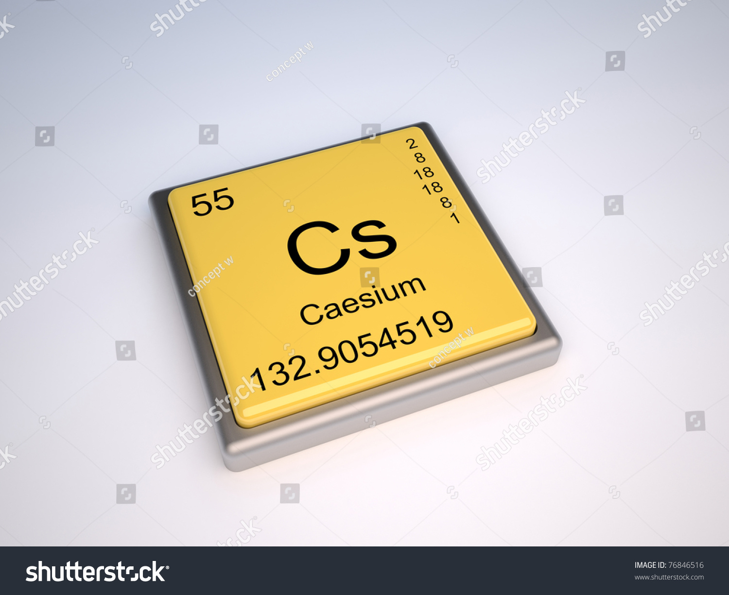 Caesium Chemical Element Periodic Table Symbol Stock