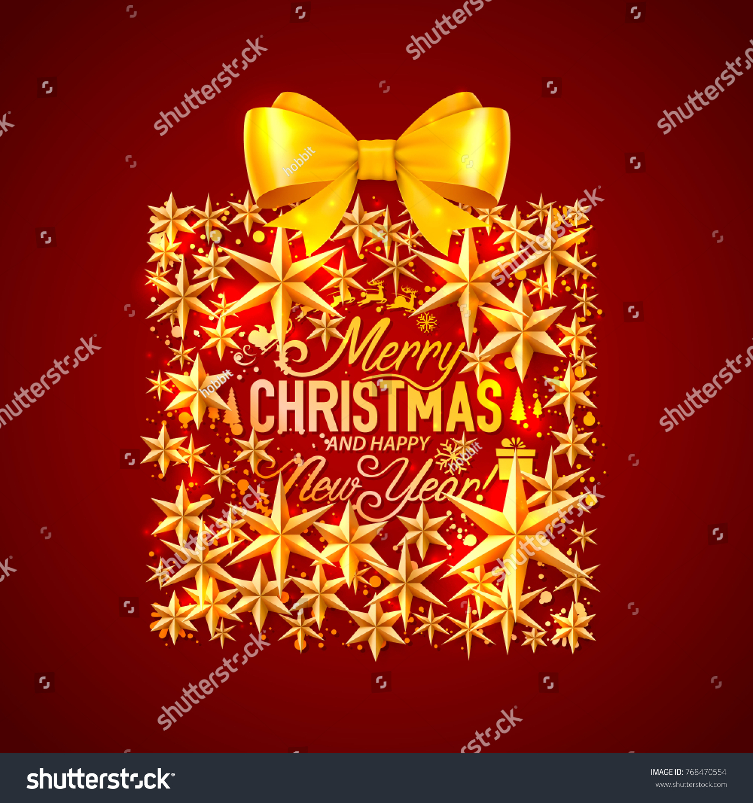 merry christmas and happy new year gift with bow vector background design
