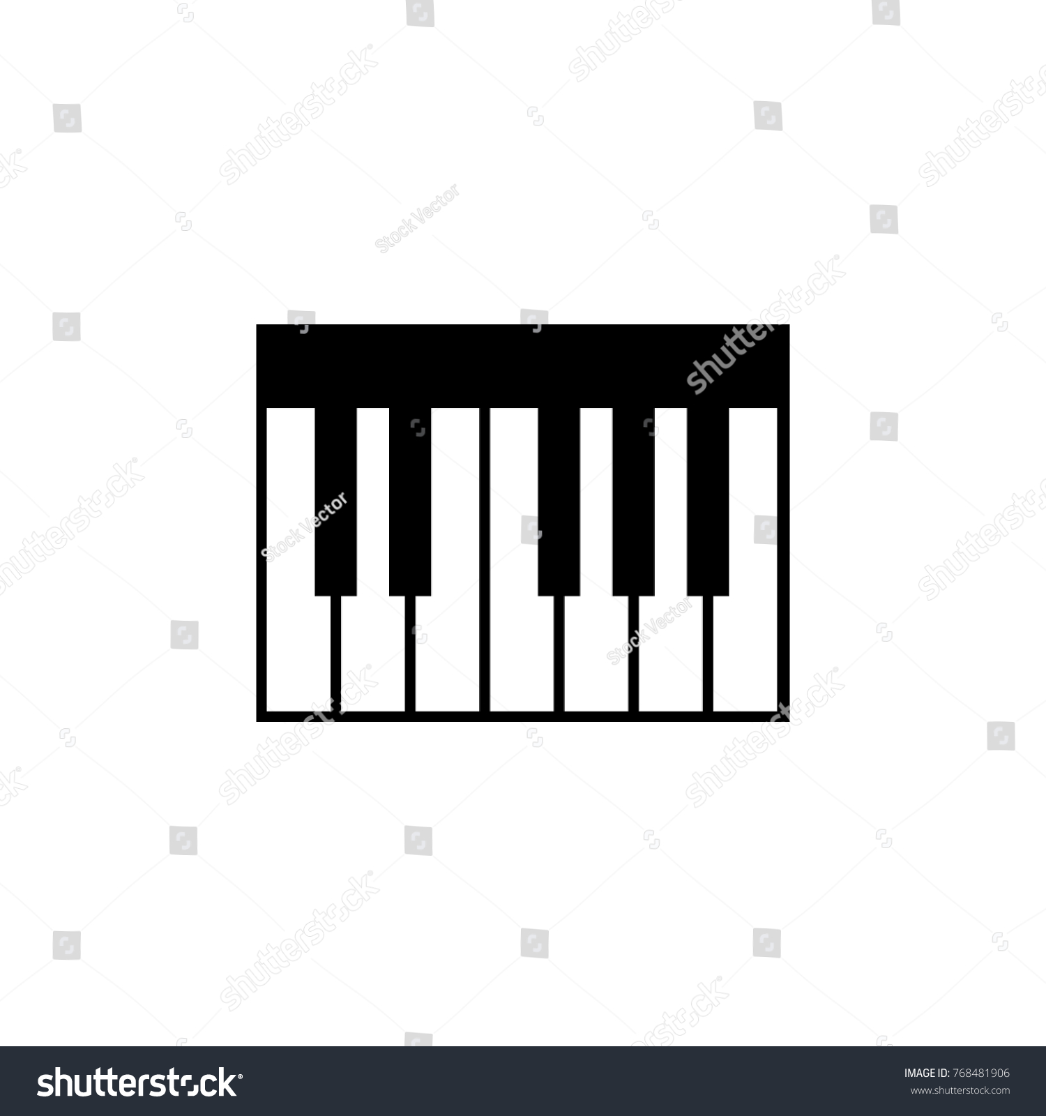 Piano Keyboard Icon Music Sign Simple Stock Vector 768481906