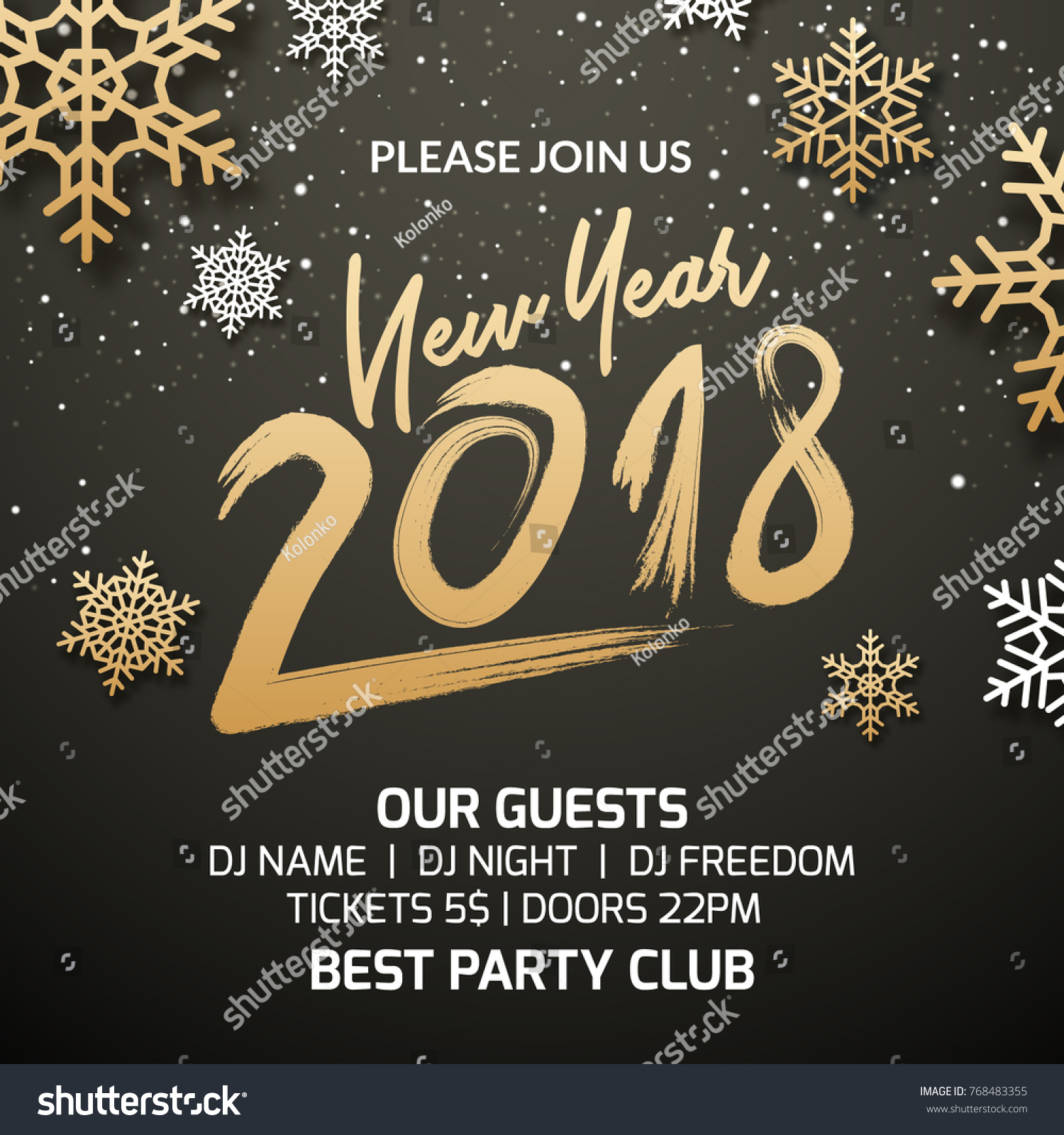 New year 2018 party poster invitation stock vector royalty free new year 2018 party poster invitation decoration design xmas holiday template background with snowflakes stopboris Gallery