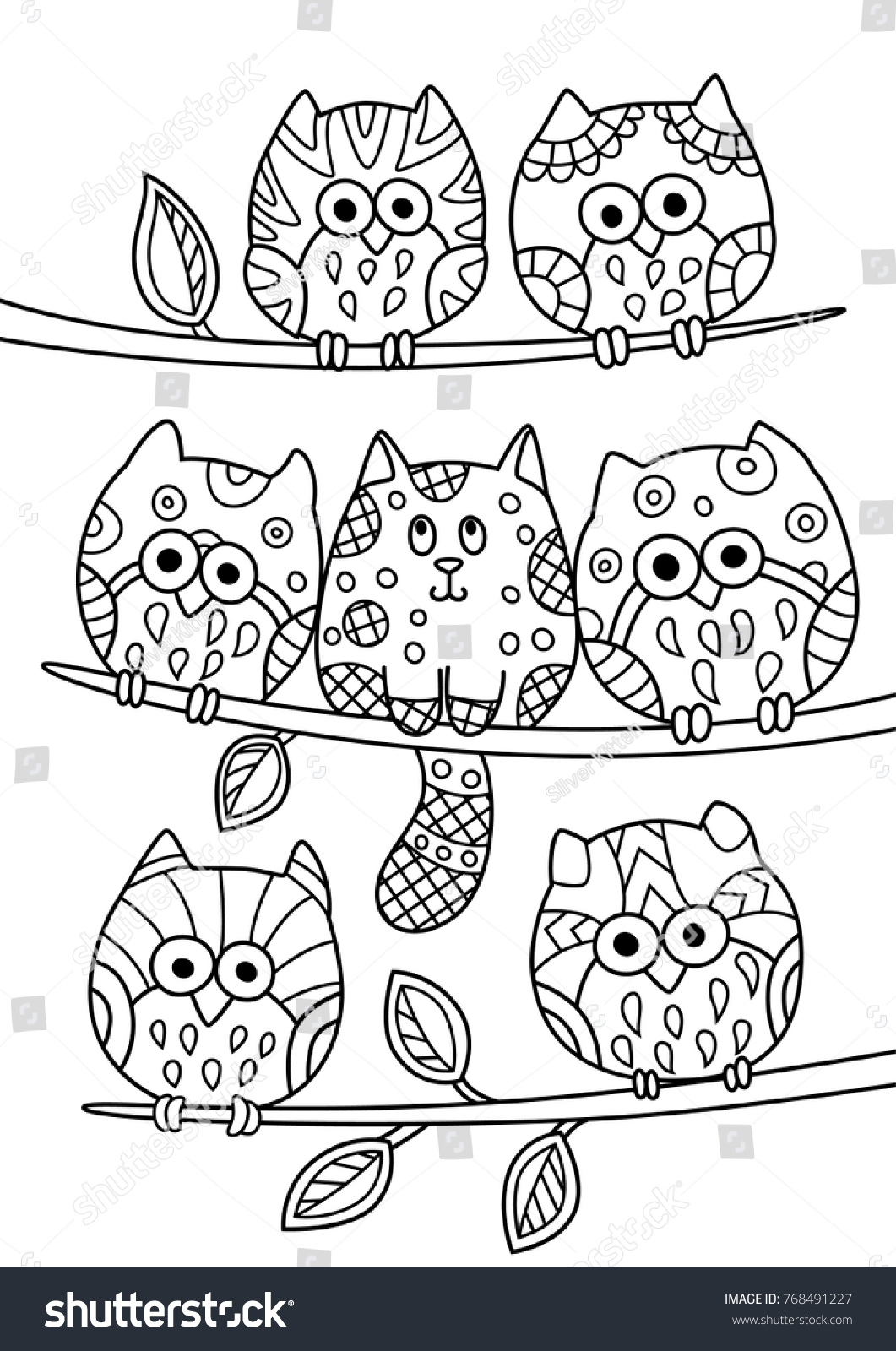 stock vector outlined doodle anti stress coloring cute cat hiding among the owls coloring book page for adults