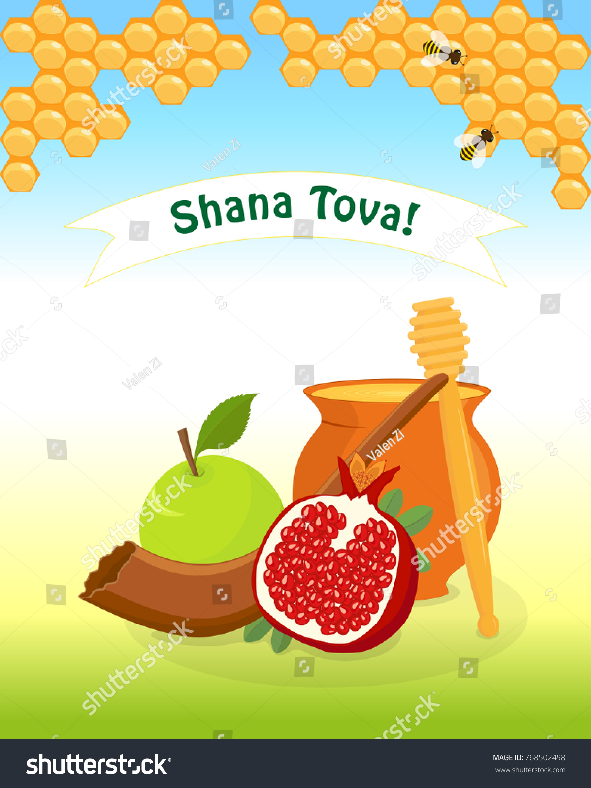 Greeting card jewish new year rosh stock vector 768502498 shutterstock greeting card for jewish new year rosh hashanah with traditional holiday symbols apple pomegranate kristyandbryce Choice Image