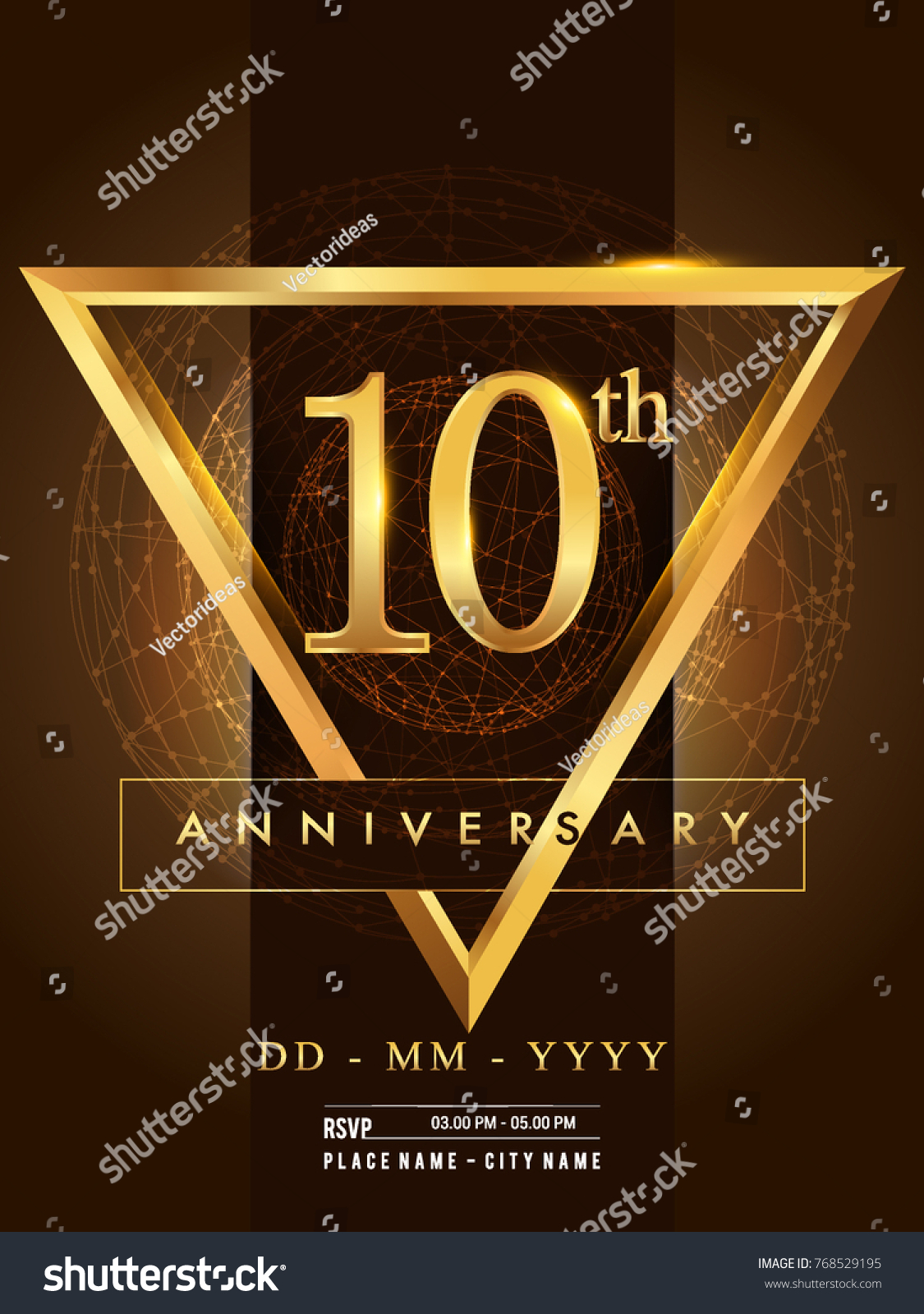 10th Anniversary Poster Design On Golden Stock Vector Royalty Free