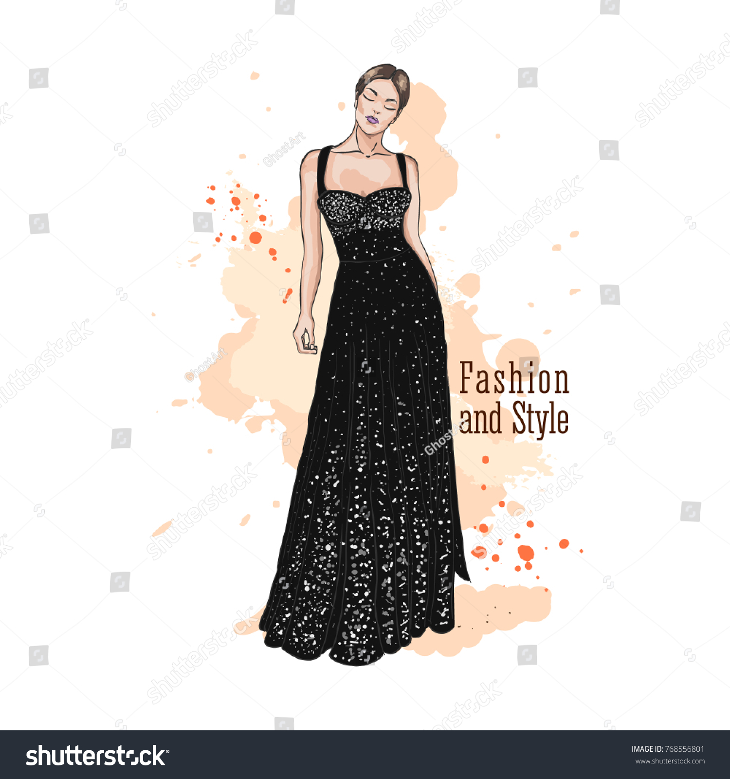Young Woman Elegant Evening Dress Sequin Stock Vector (Royalty Free ...