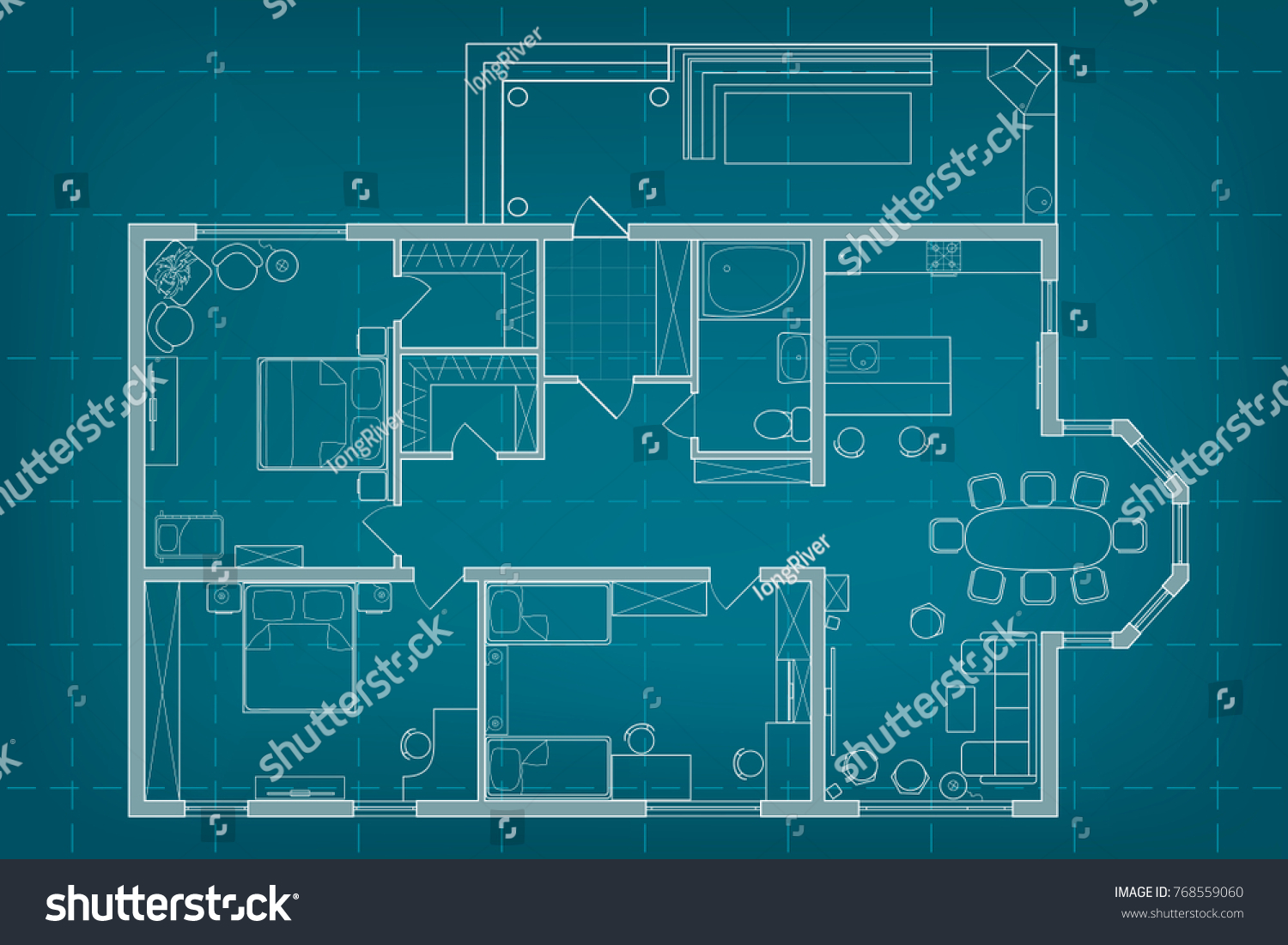 Vector architectural blueprint top view floor stock vector vector architectural blueprint top view floor plan of the house layout and furniture on background malvernweather Choice Image