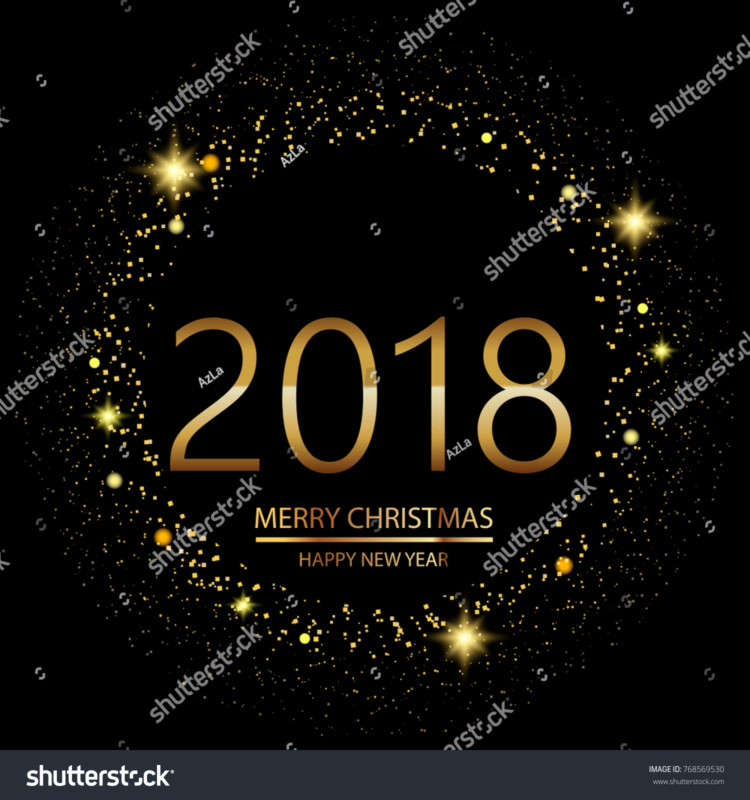 happy new year background with glowing lights text on black background vector