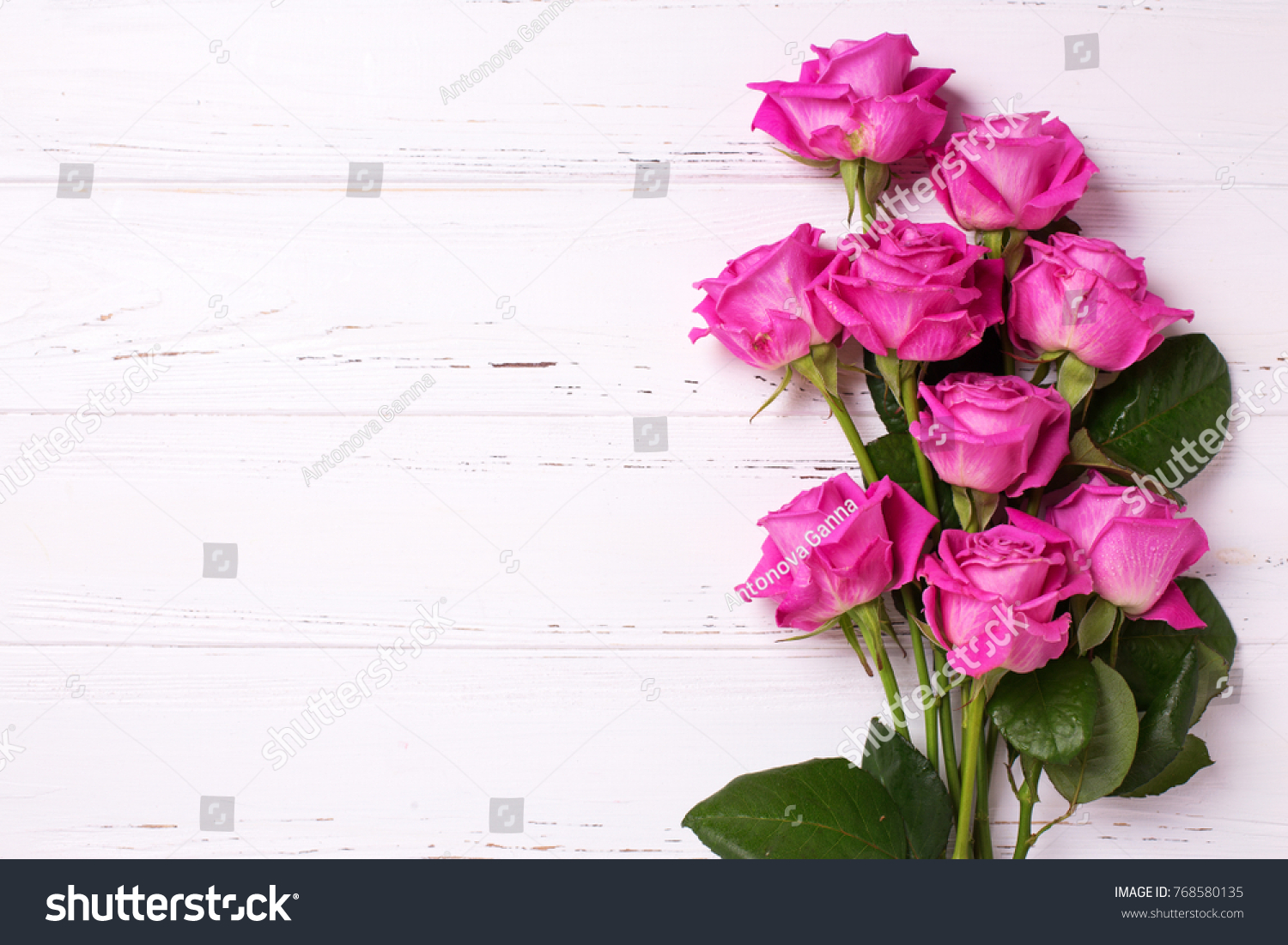 Bunch Pink Roses Flowers On White Stock Photo Edit Now 768580135