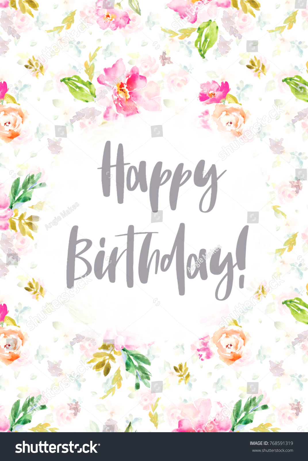 Happy birthday card painted watercolor flowers stock illustration happy birthday card with painted watercolor flowers izmirmasajfo Image collections