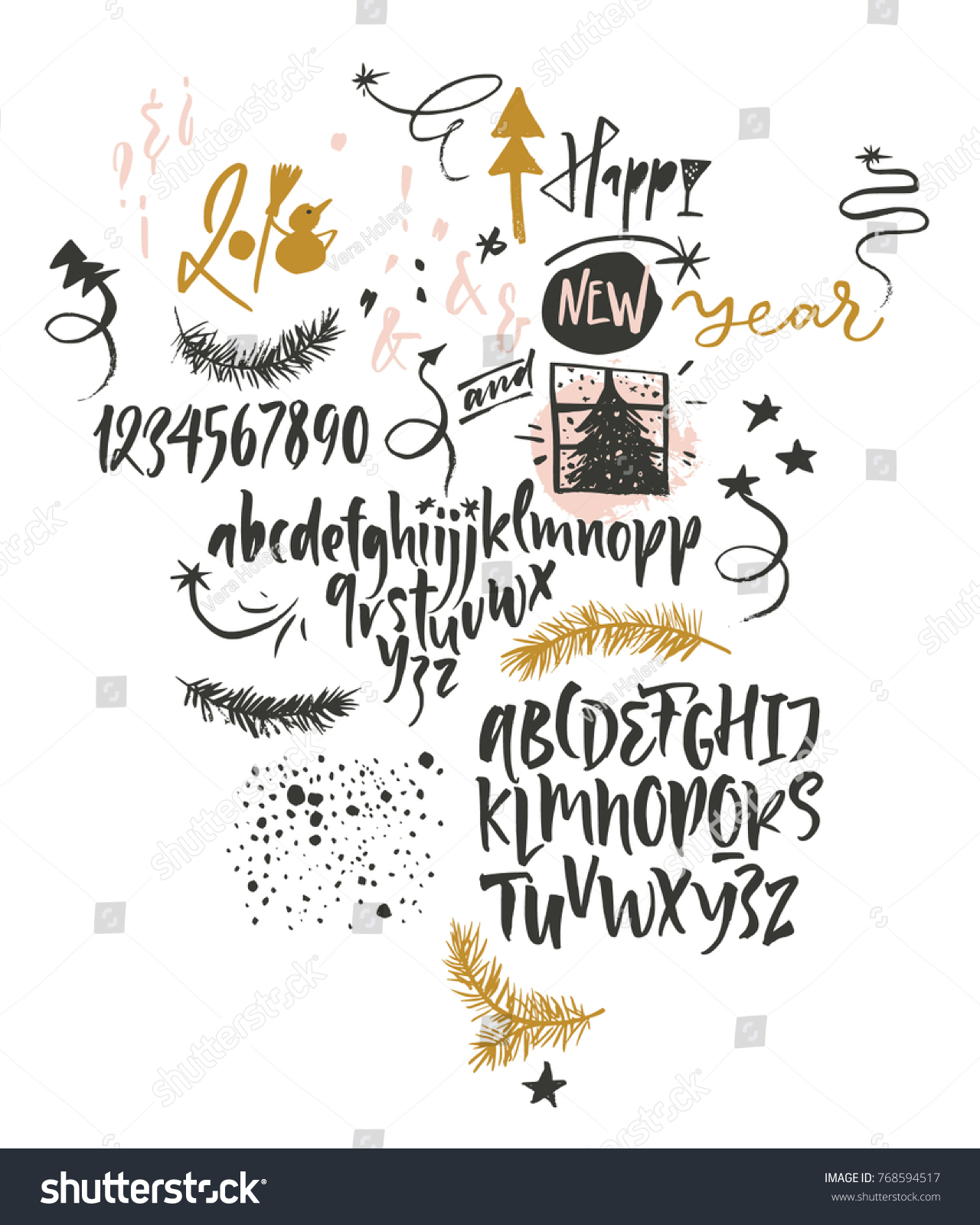 Happy New Year Funny Font Graphic Stock Vector (Royalty Free ...