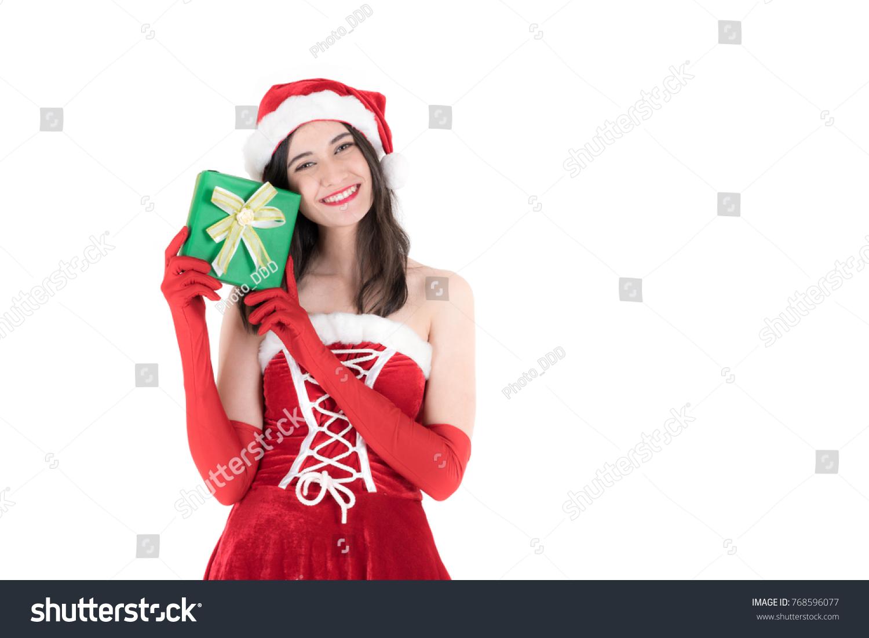 Beautiful Santa Girl Wearing Santa Claus Stock Photo (Edit Now ...