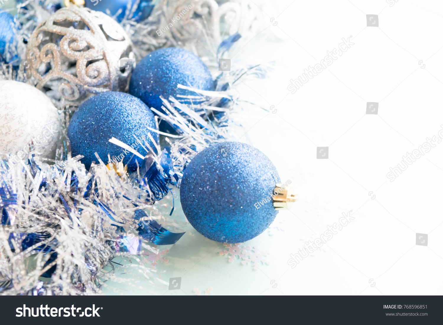 Christmas decorations. blue christmas balls branch and ribbons