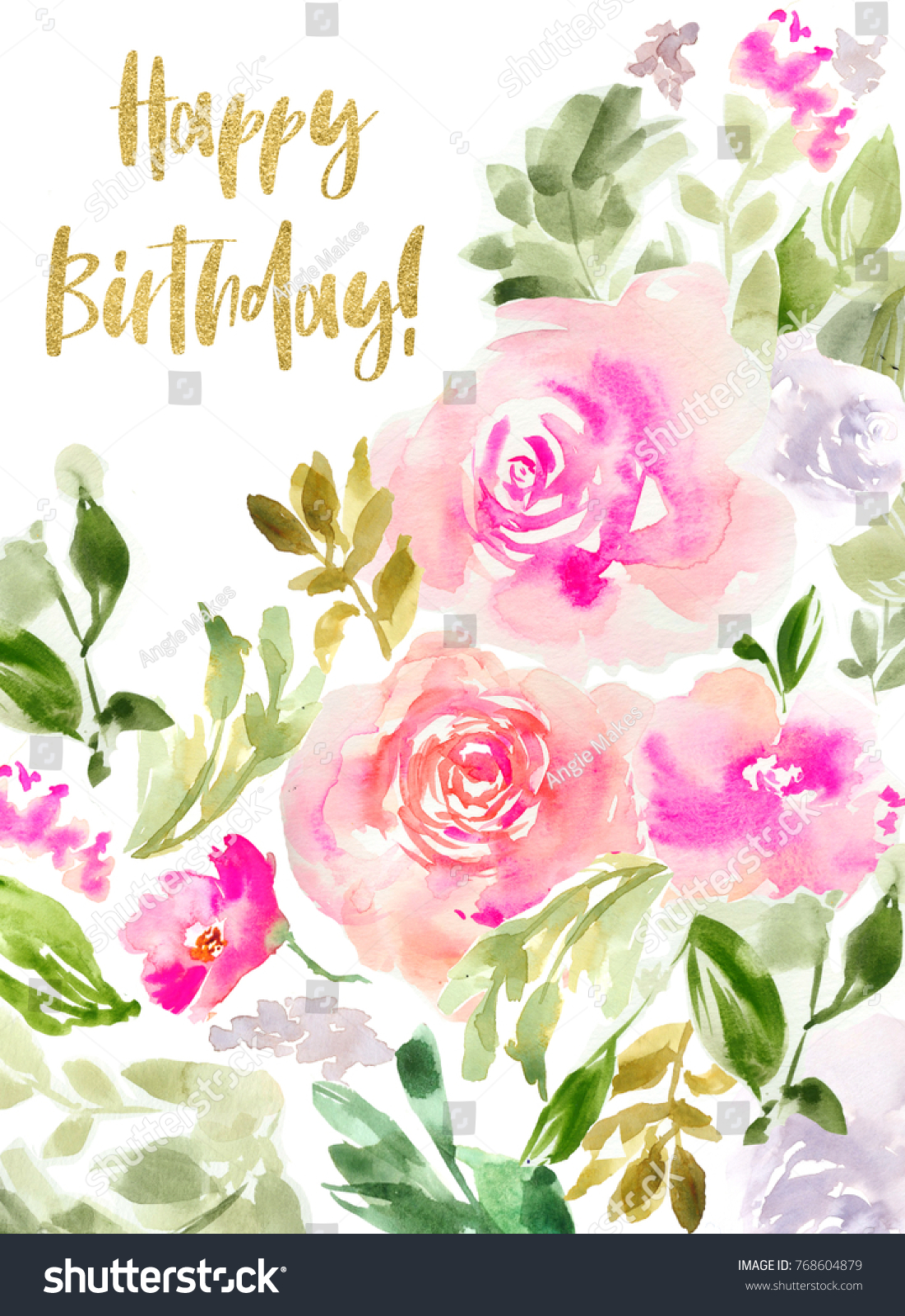 Cute Printable Watercolor Flowers Birthday Card Stock Illustration
