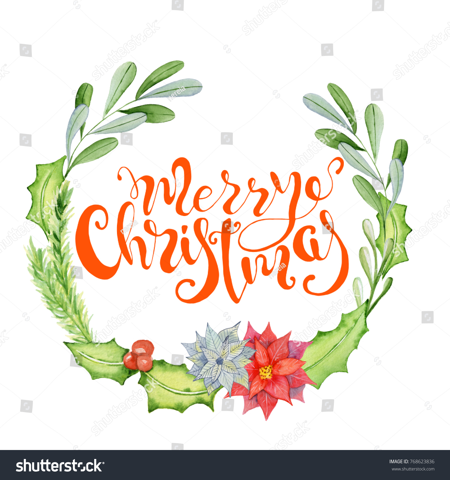 merry christmas watercolor card with floral winter elements happy new year lettering quote flower