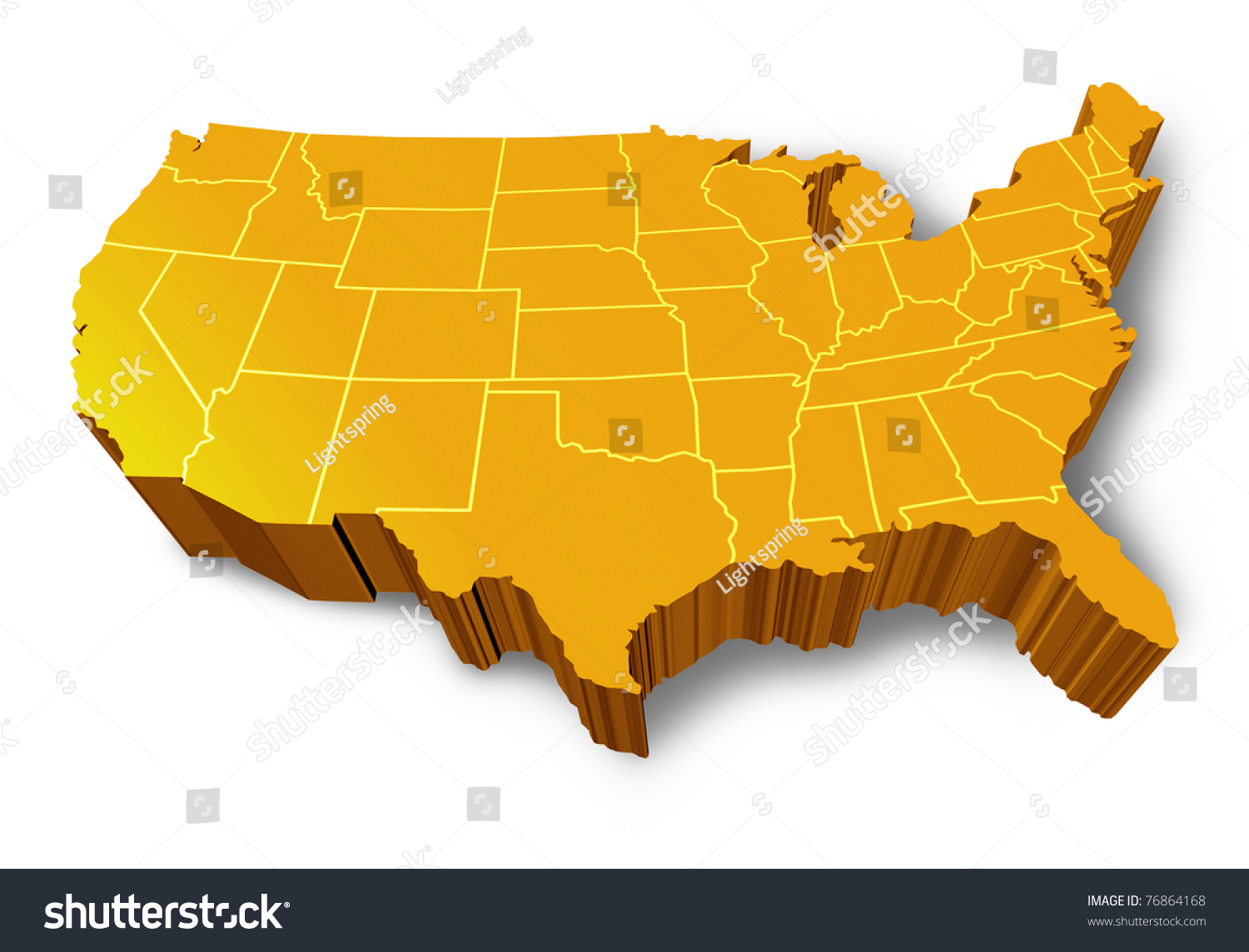 Usa D Map Symbol Represented By Stock Illustration - 3d map usa states