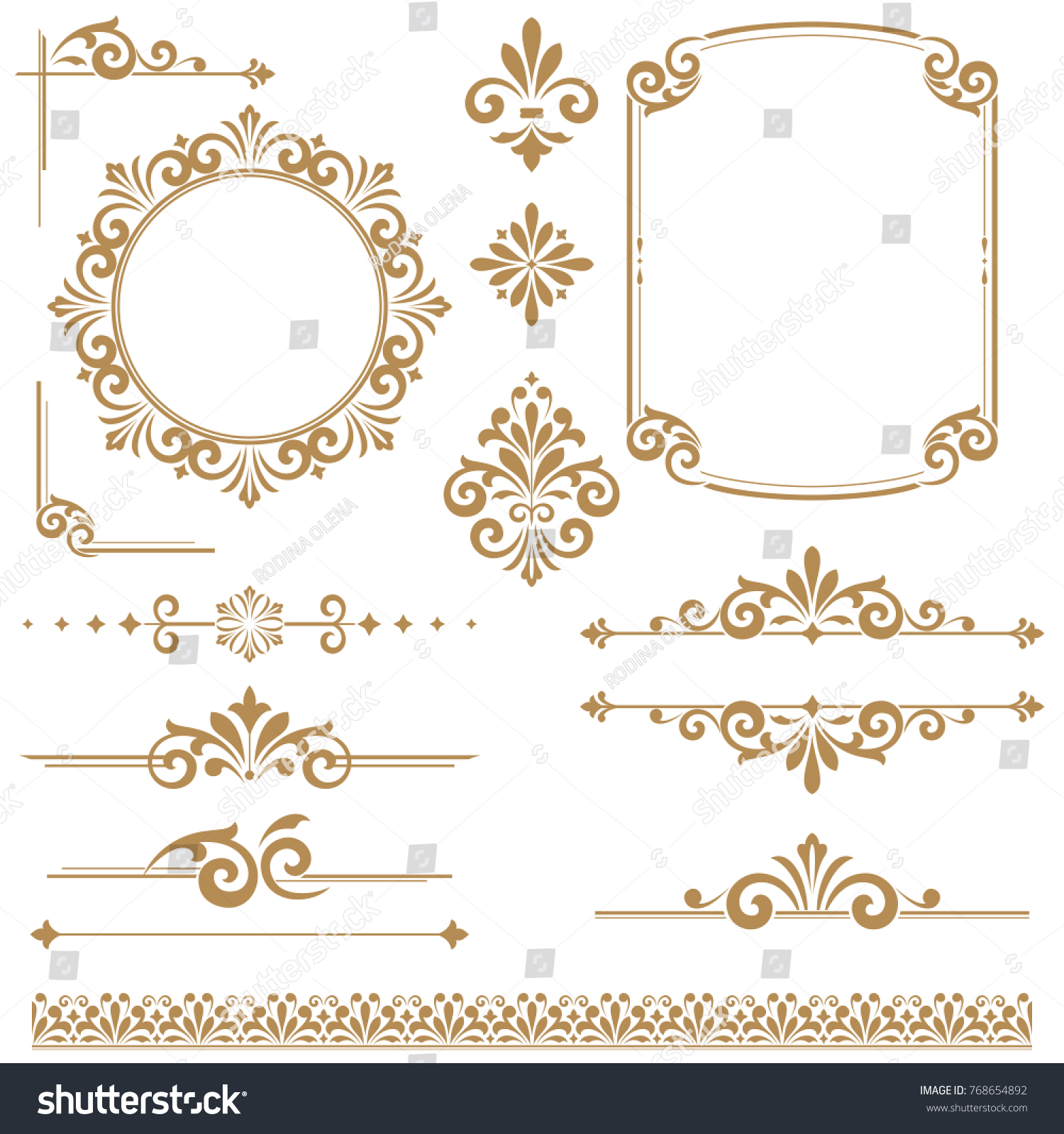 Vintage vector Set. Floral elements for design monograms, invitations, frames, menus and labels. Graphic design of the website, cafes, boutiques, hotels, wedding invitations.
