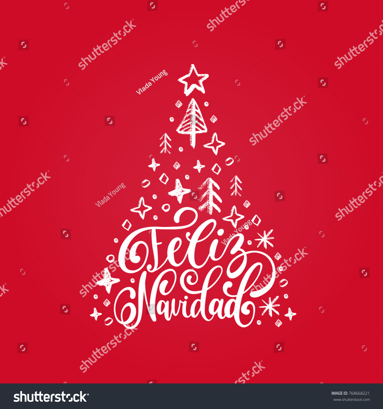 feliz navidad translated from spanish merry christmas hand lettering with spruce illustration on red background