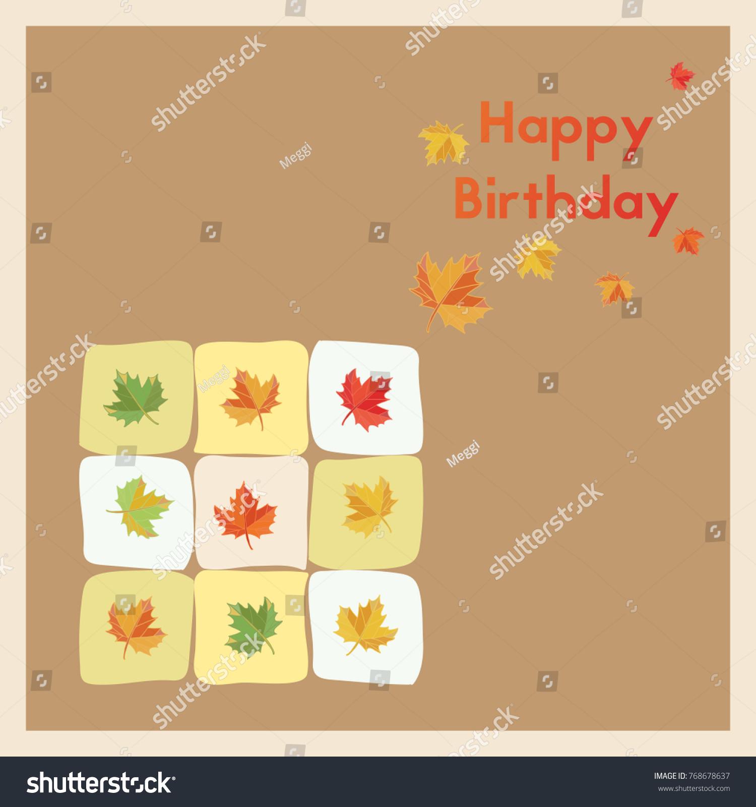 Happy Birthday Greeting Birth Card Autumn Stock Illustration