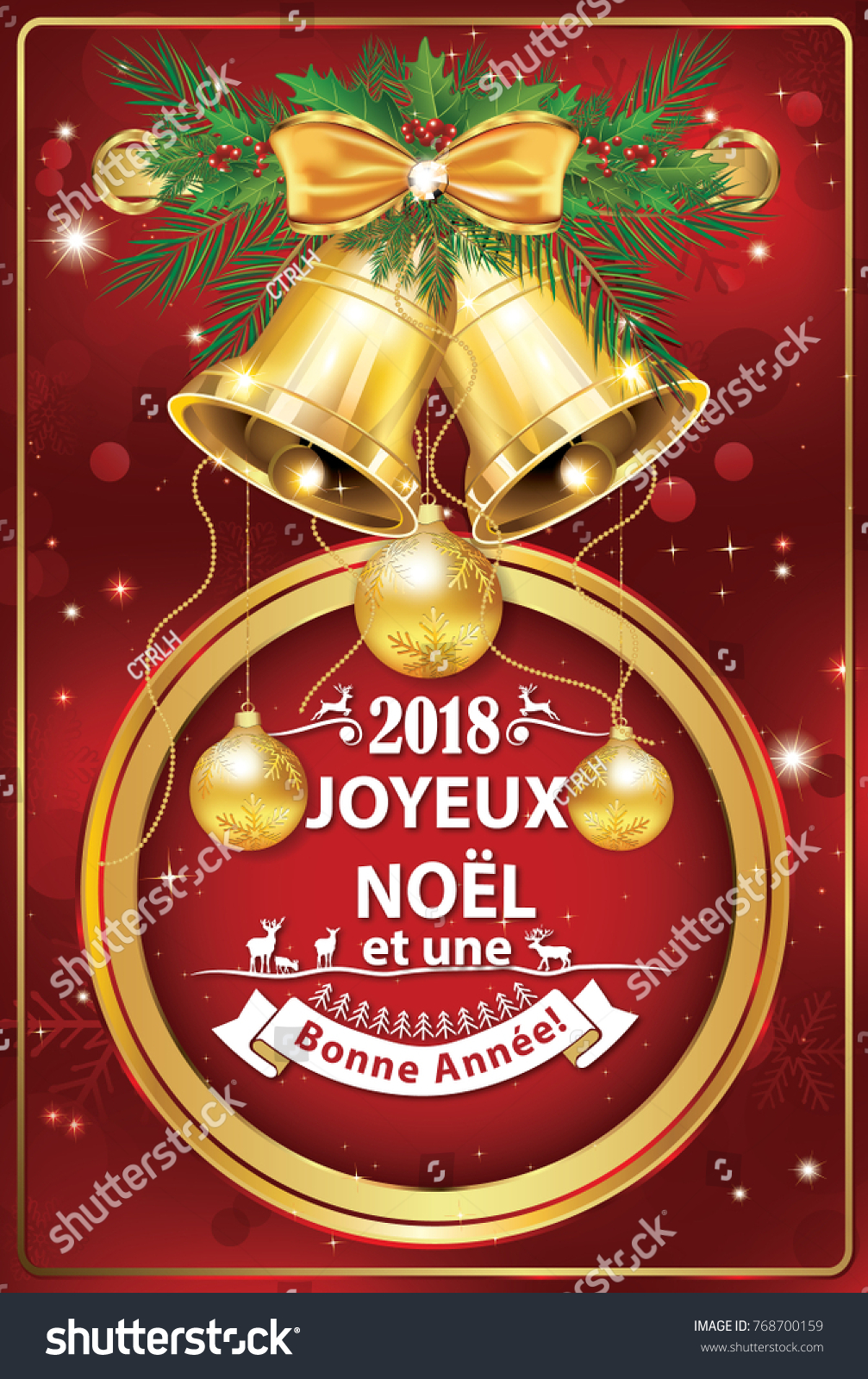 2018 French Christmas New Year Greeting Stock Illustration 768700159