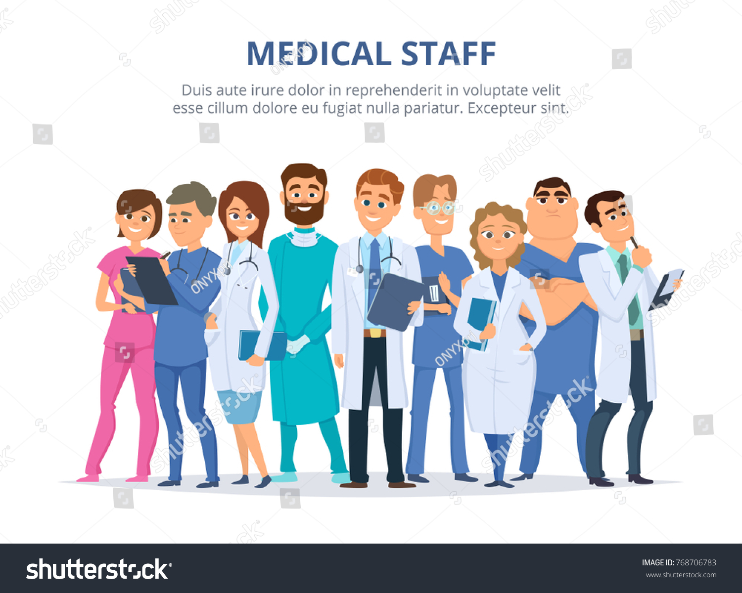 Medical Staff Group Male Female Doctors Stock Vector Royalty Free 768706783