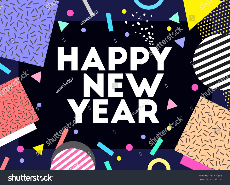 happy new year text vector artwork cute kids children banner blue