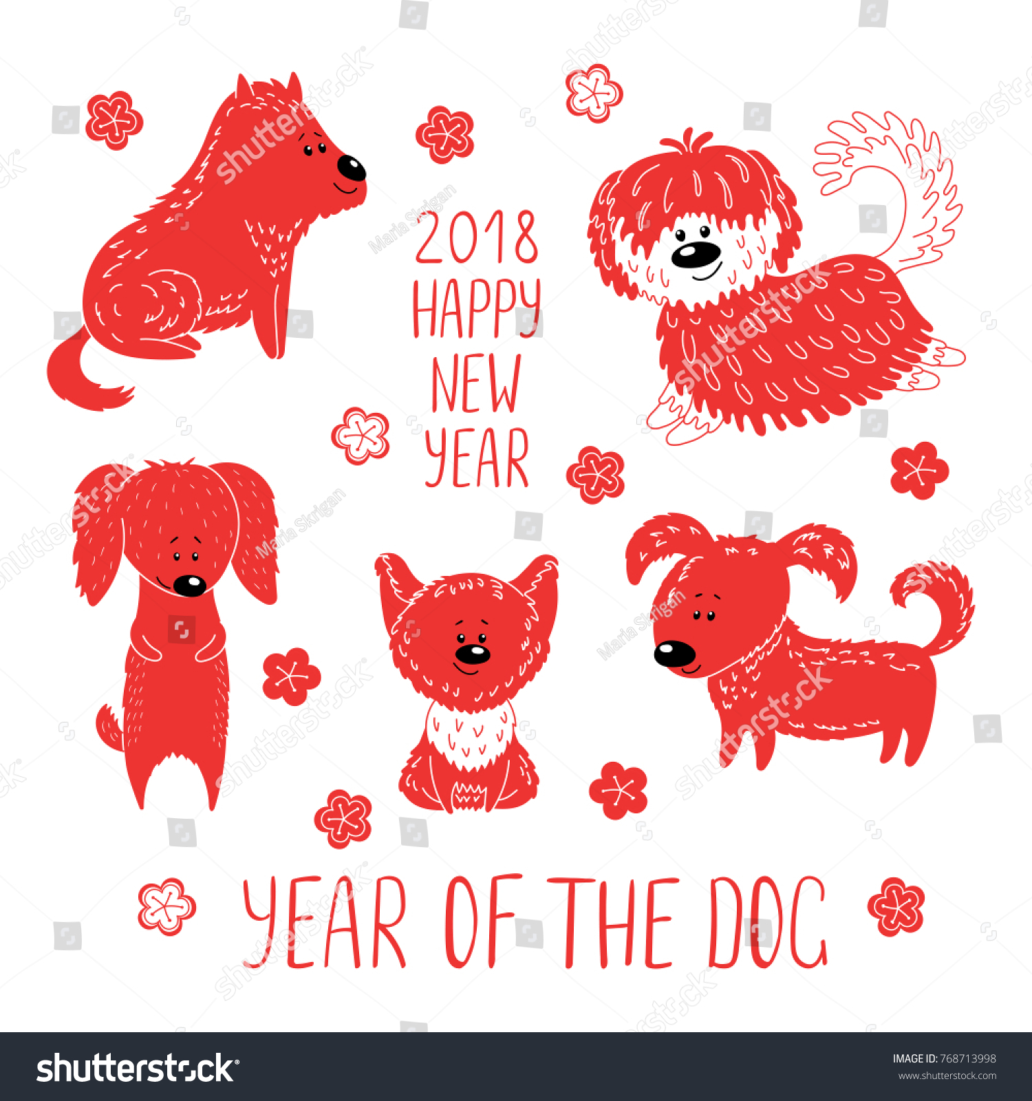 hand drawn new year greeting card with cute funny cartoon dogs typography isolated objects