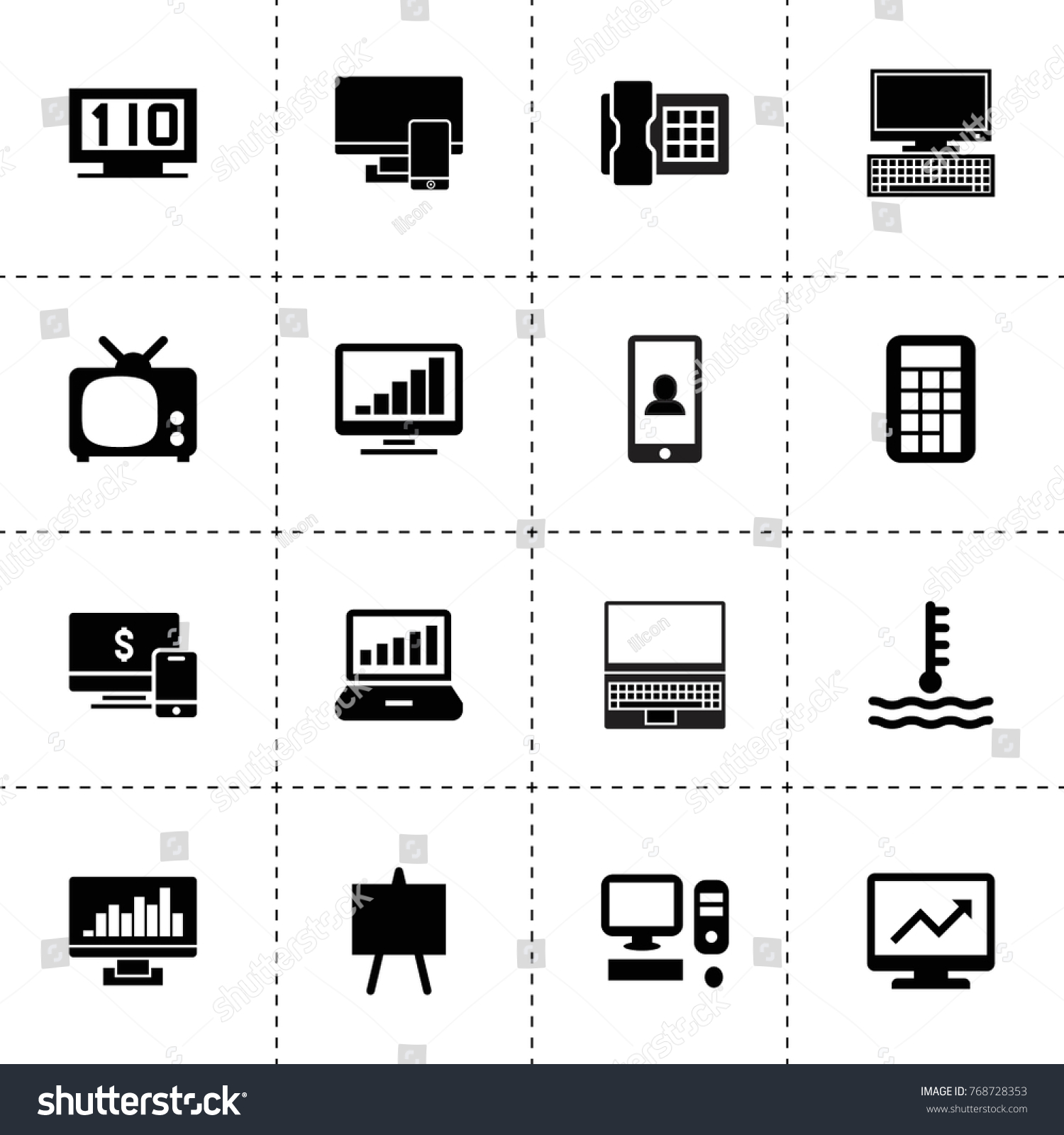 Display Icons Vector Collection Filled Display Stock Vector Royalty