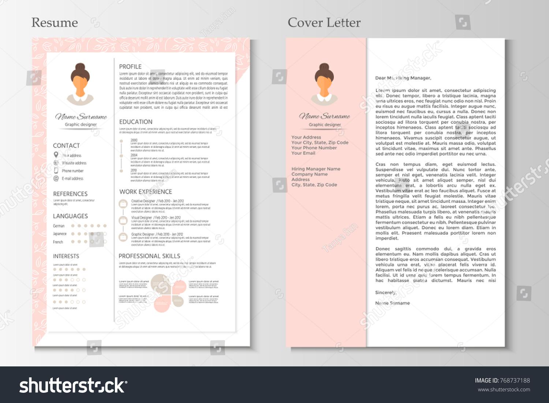 Feminine Resume Cover Letter Infographic Design Image Vectorielle De