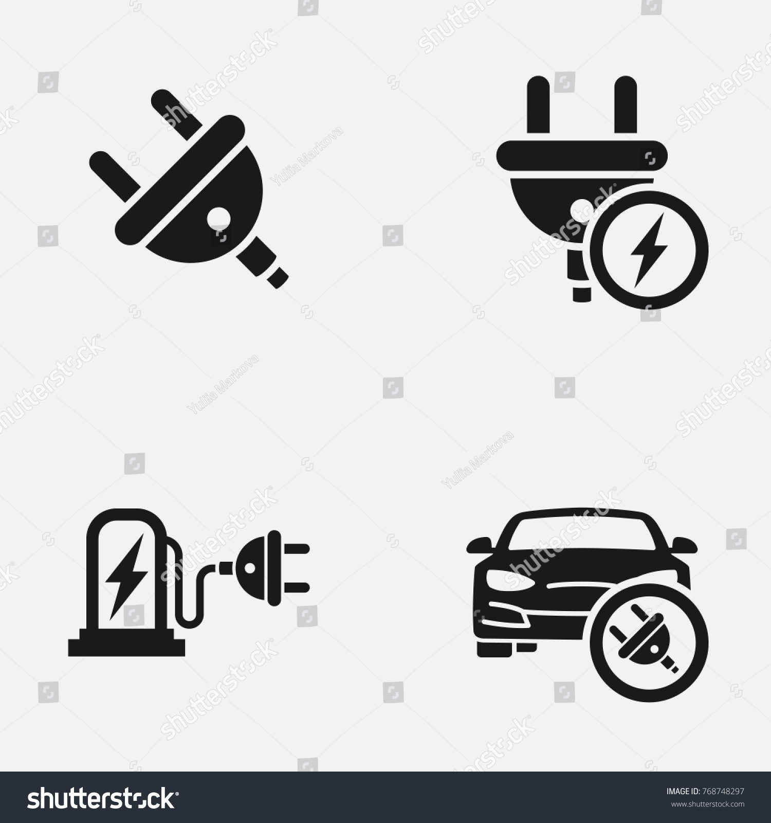 Set Electric Car Electrical Charging Station Stock Vector 768748297