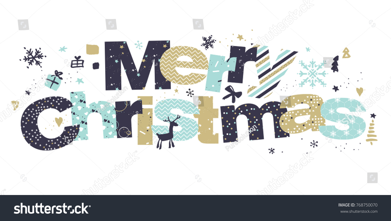christmas greeting card flat design vector stock vector royalty