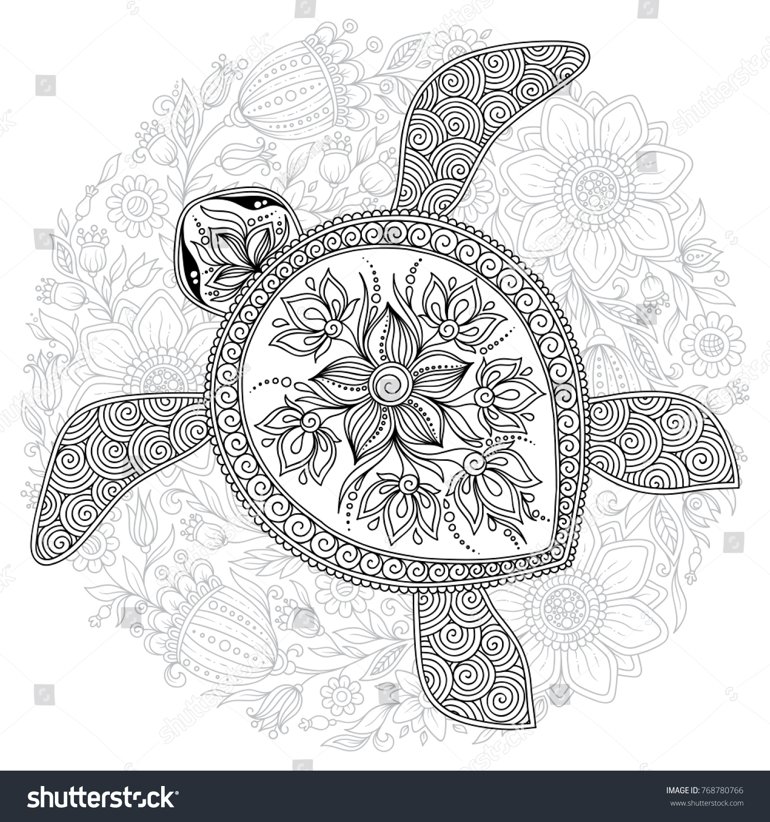 Illustration Of Sea Turtle For Coloring Book Pages Kids And Adults Tattoo Shirt