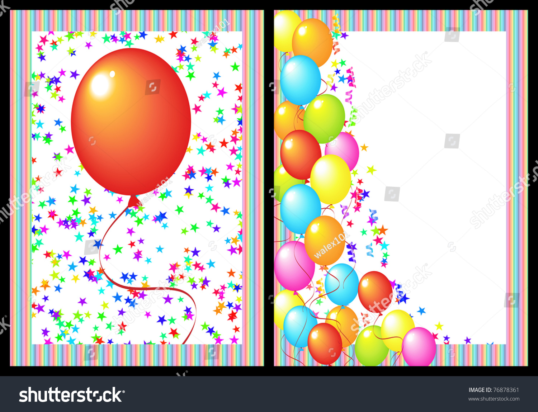 Happy Birthday Greeting Card Balloon Star Stock Illustration