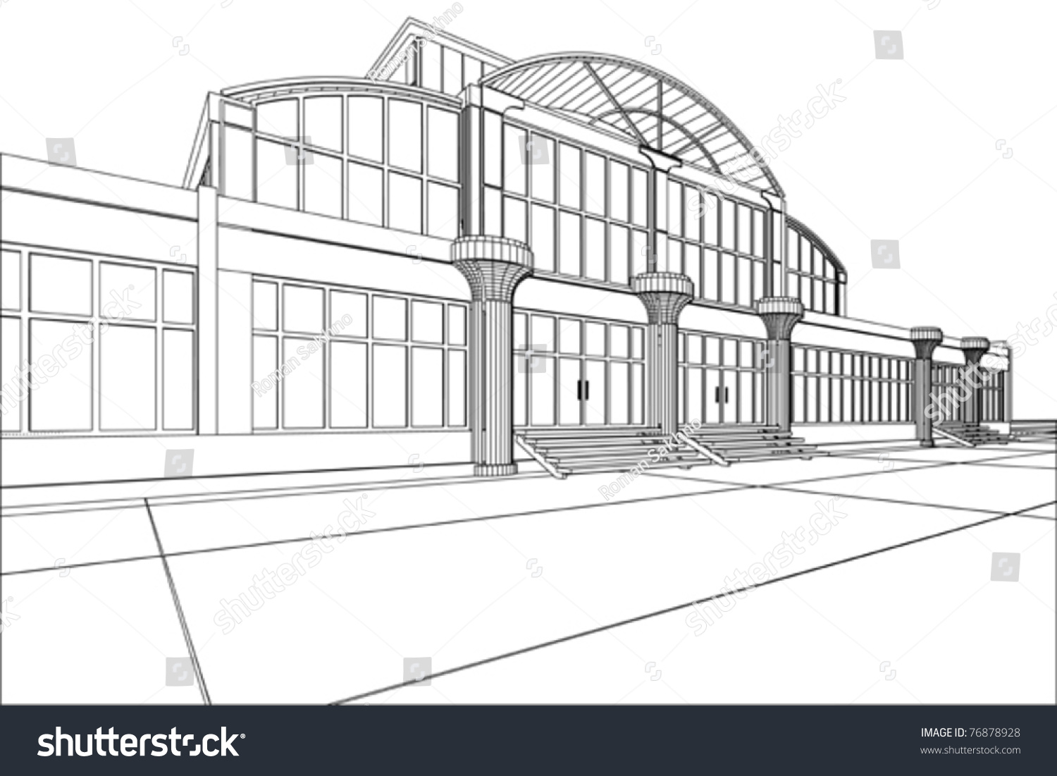3d Rendering Wireframe Office Building White Stock Vector Royalty
