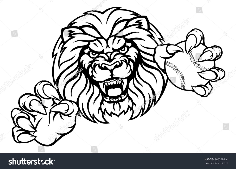 Angry lion cartoon drawing