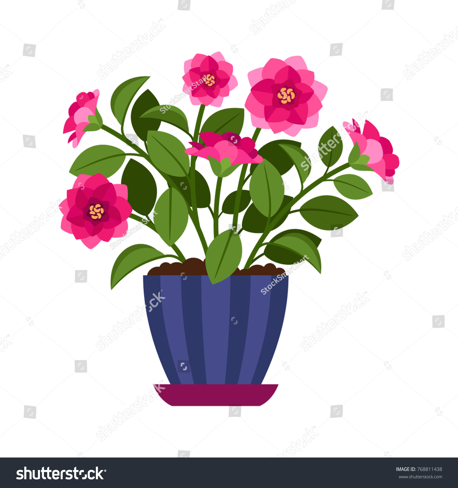 Camellia House Plant In Flower Pot Vector Icon On White Background