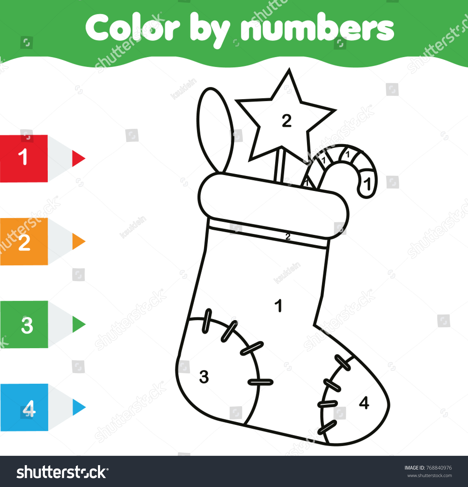 Coloring Page Christmas Sock Color By Stock Illustration 768840976 ...