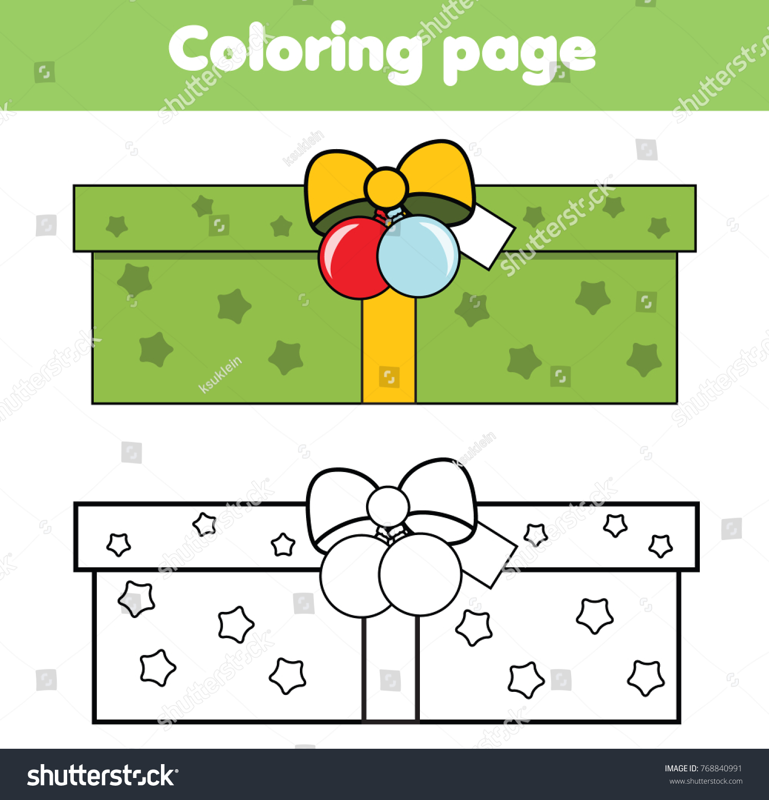 Coloring Page New Year Gift Box Stock Illustration 768840991 ...