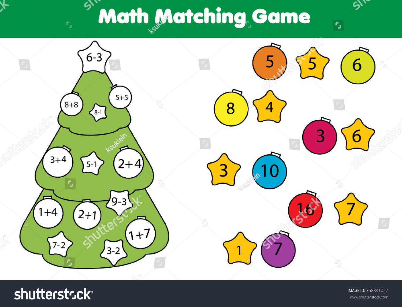 Math Educational Game Children Matching Mathematics Stock ...