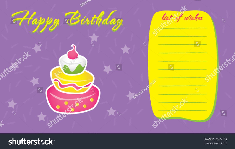 Template Frame Design Birthday Wish List Vector 76886104 – Birthday Wish Template