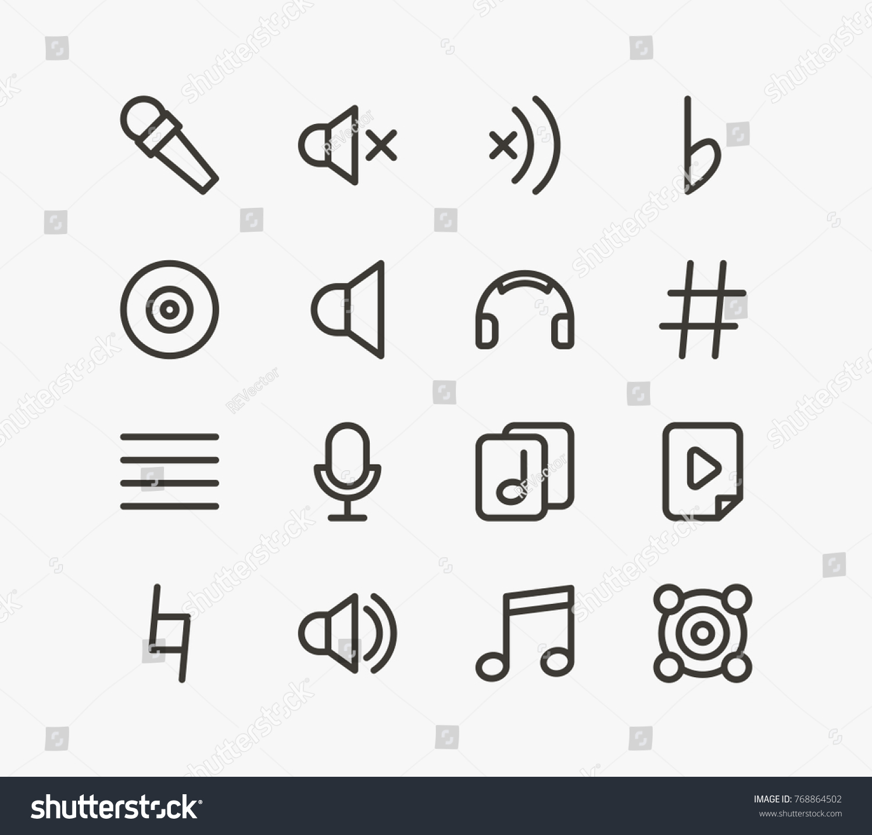 Music Icon Line Set Sound Off Stock Illustration 768864502