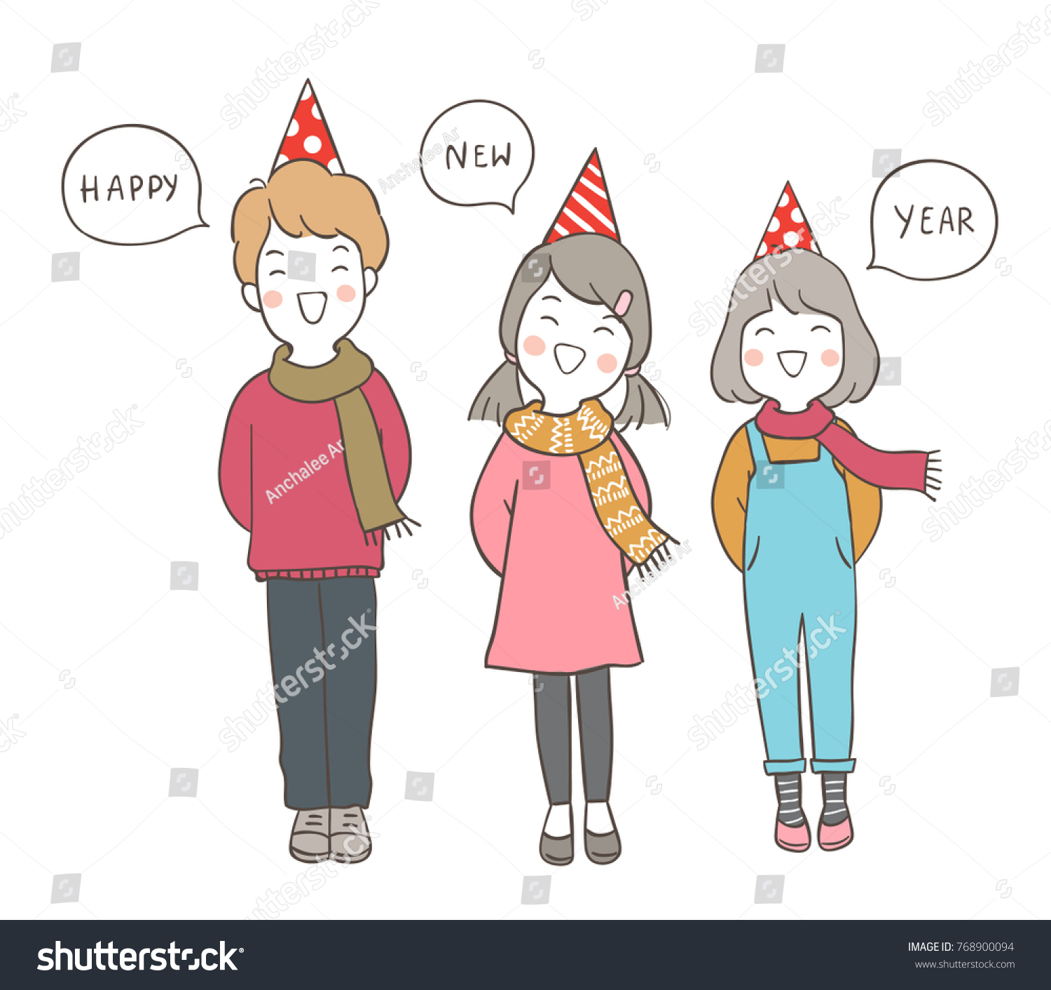cute draw vector illustration character design happy kids saying happy new year in speech bubble