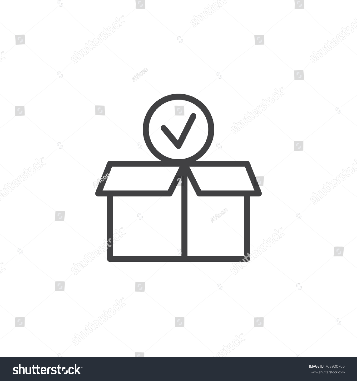 Package paper box check mark line stock vector 768900766 package paper box with check mark line icon outline vector sign linear style pictogram biocorpaavc