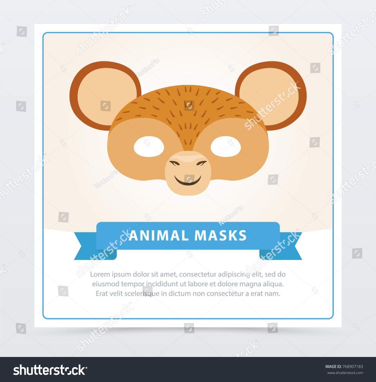 monkey face mask cute ears jungle stock vector royalty free