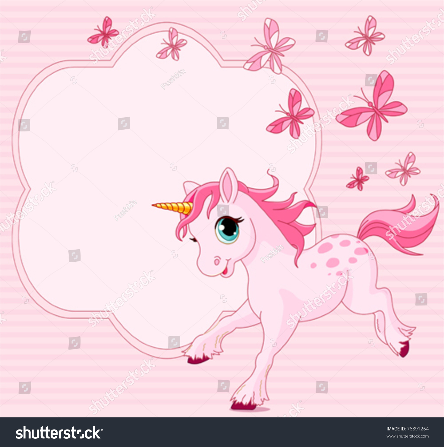 Place Card Running Beautiful Baby Unicorn Stock Vector 76891264 - Shutterstock