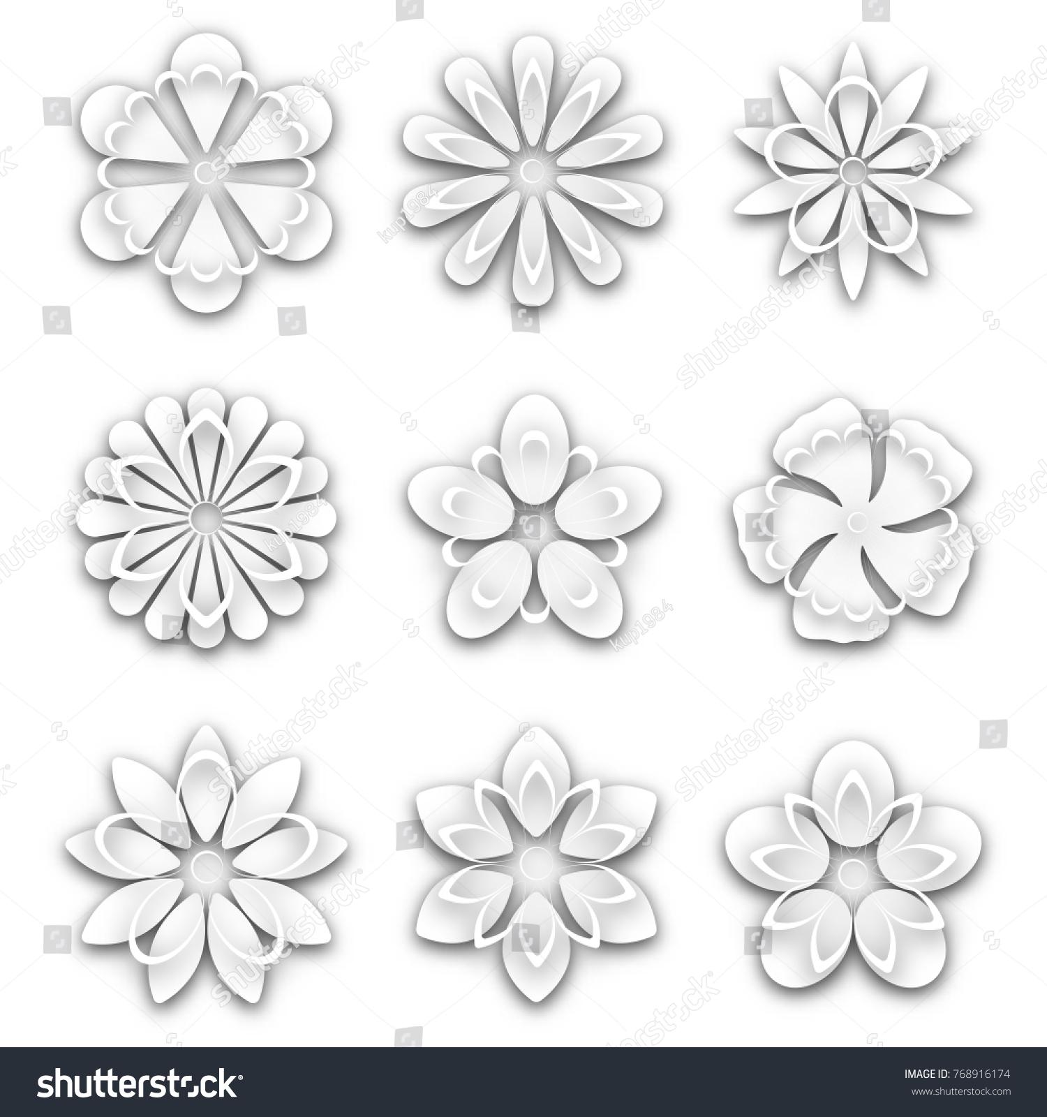 Set White Paper Flower Buds Different Stock Illustration 768916174