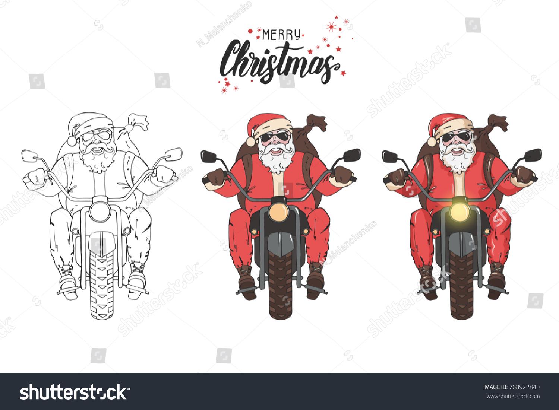 Santa Claus Ride Motorcycle Backpack Gifts Stock Illustration ...