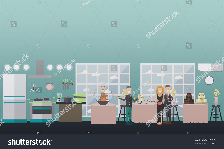 Vector Illustration Restaurant Kitchen Banquet Hall Stock Vector ...