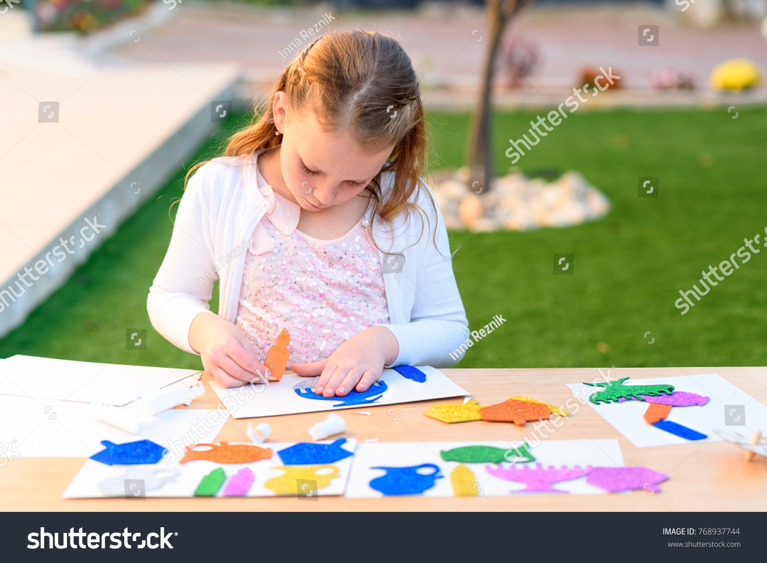 Little Girl Create Greeting Card Image Stock Photo Edit Now