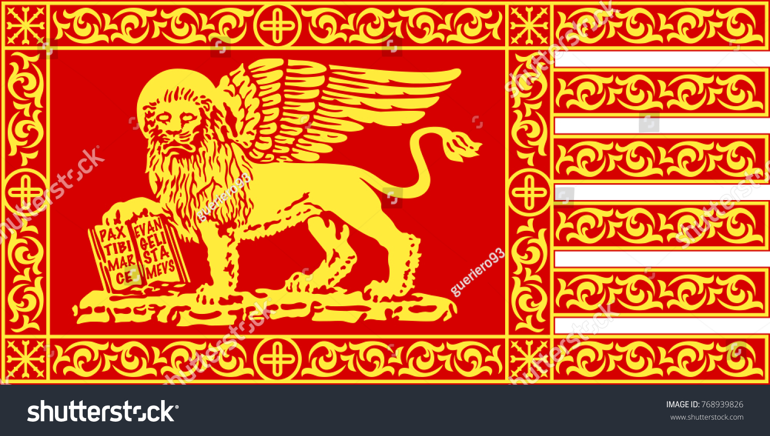 Venetian Red Gonfalon With The Lion Of Saint Mark Its The Symbol
