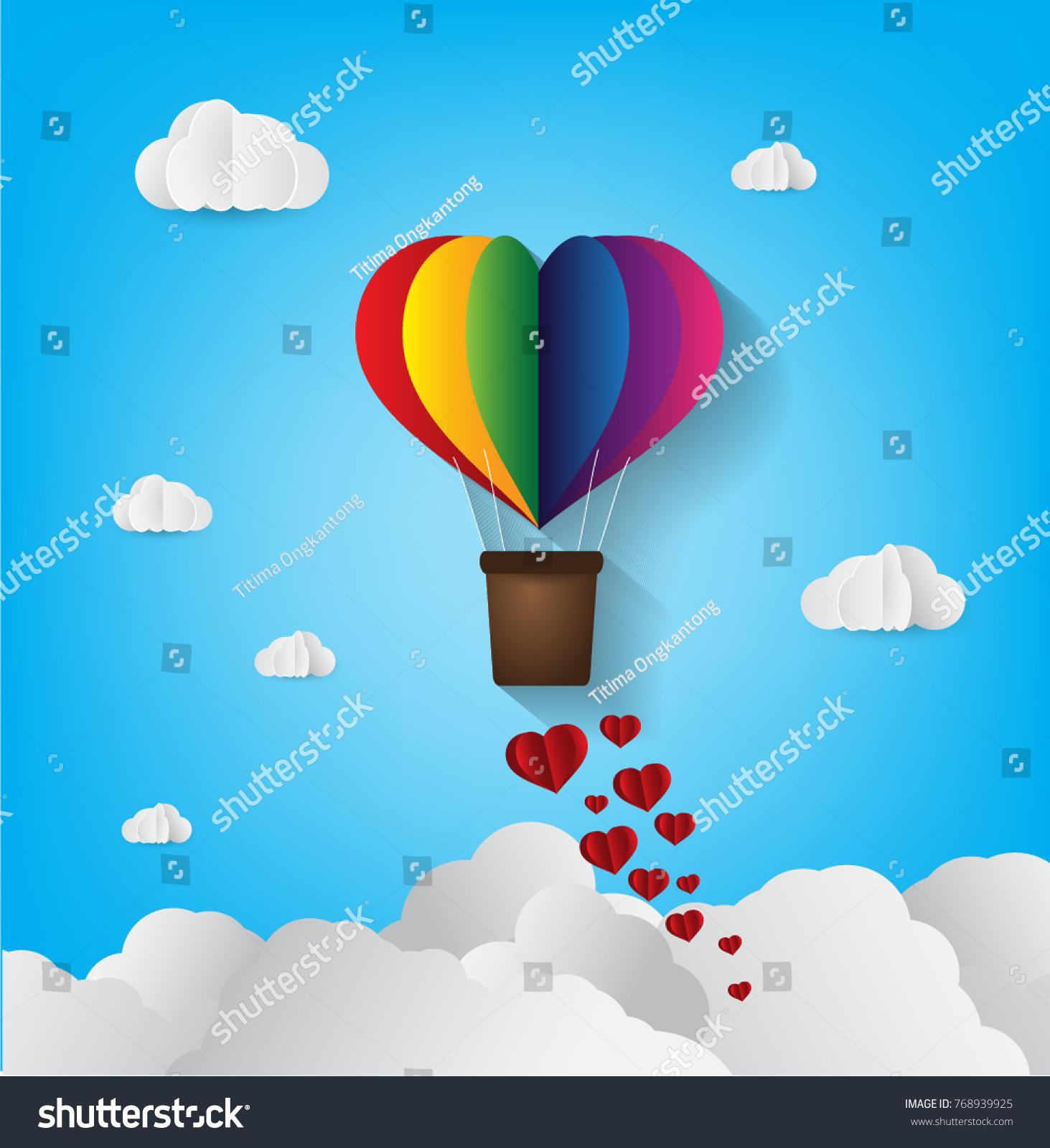 Origami made hot air balloon heart stock vector 768939925 origami made hot air balloon in a heart shape paper art style jeuxipadfo Choice Image