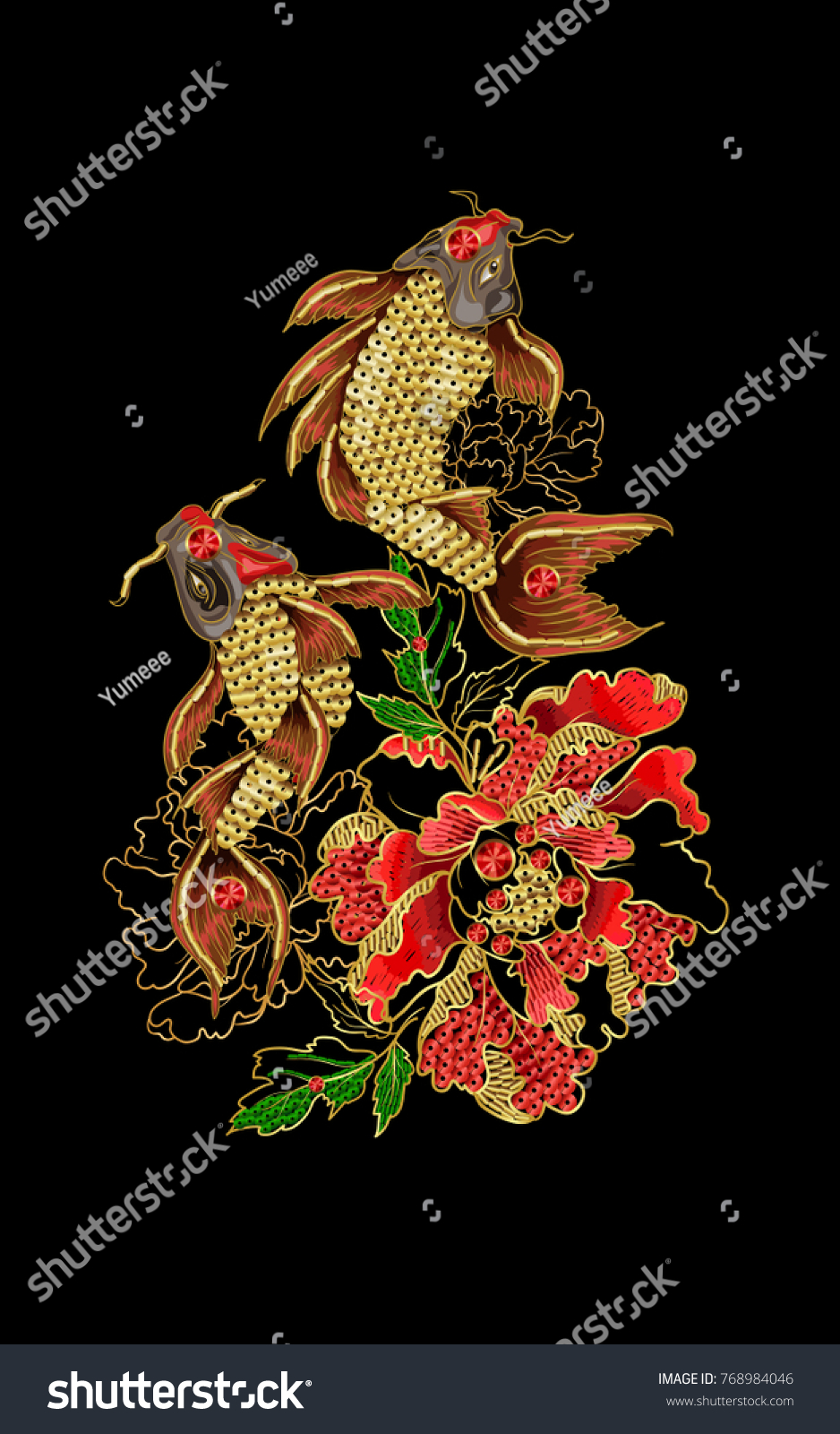 Print with embroidery of japanese carp koi and peony patches are embroidered with sequins and
